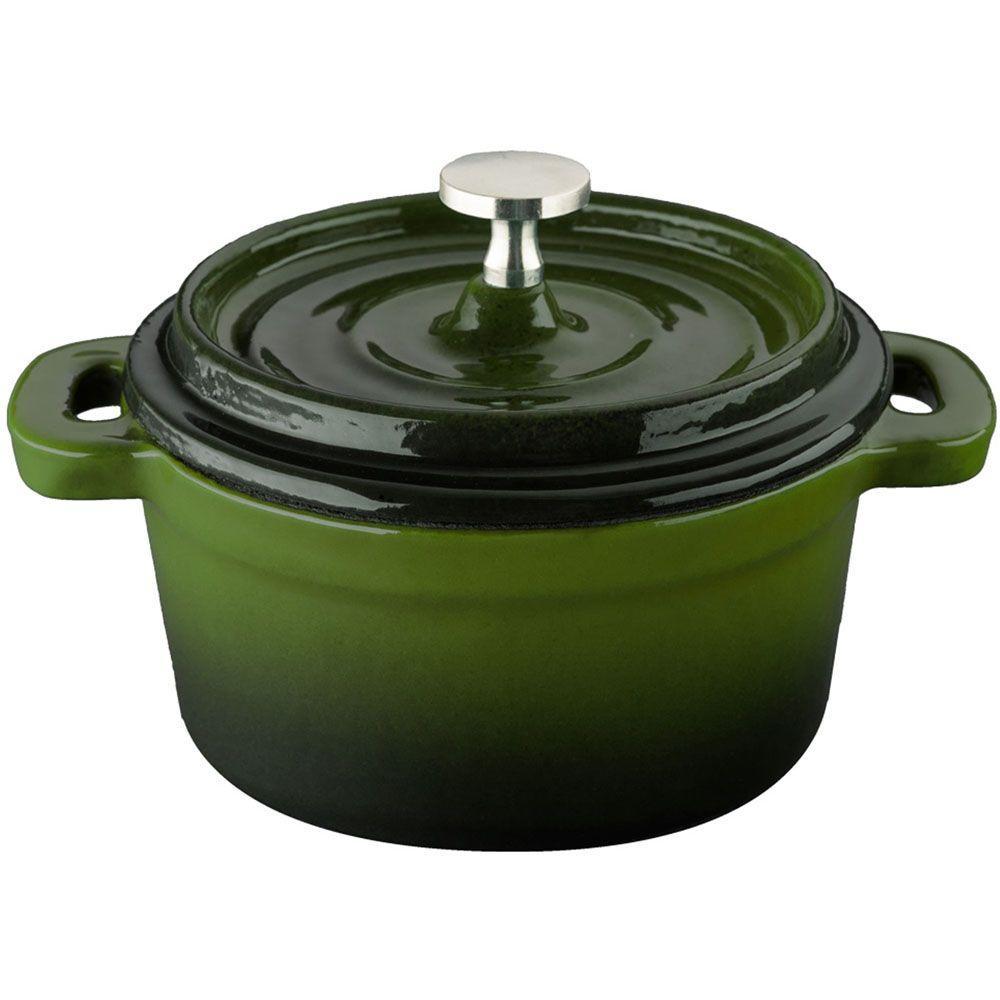 4 in. Cast Iron Mini Round Casserole in Green