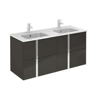 Onix 48 in. W x 18 in. D Vanity with Drawers in Anthracite with Vanity Top in White Ceramic Basin
