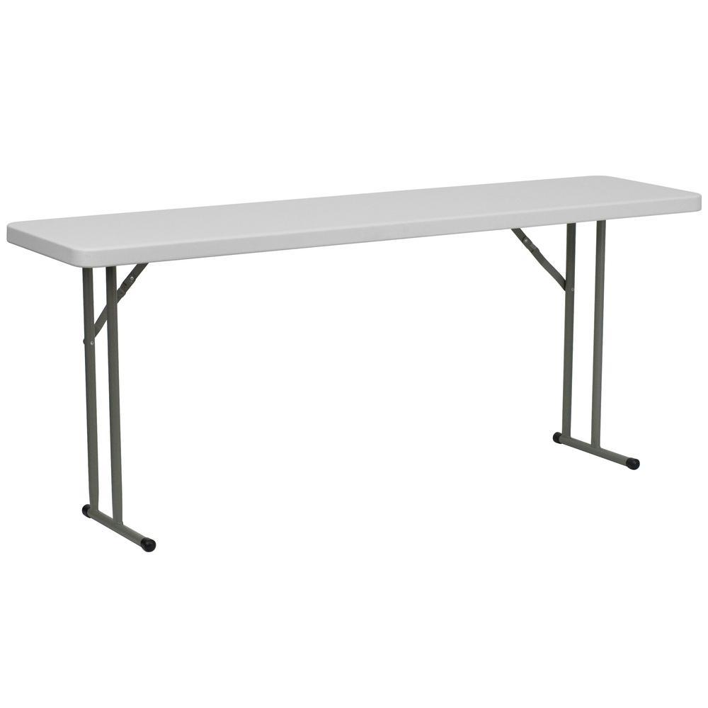 72 in. Granite White Plastic Tabletop Metal Frame Folding Table
