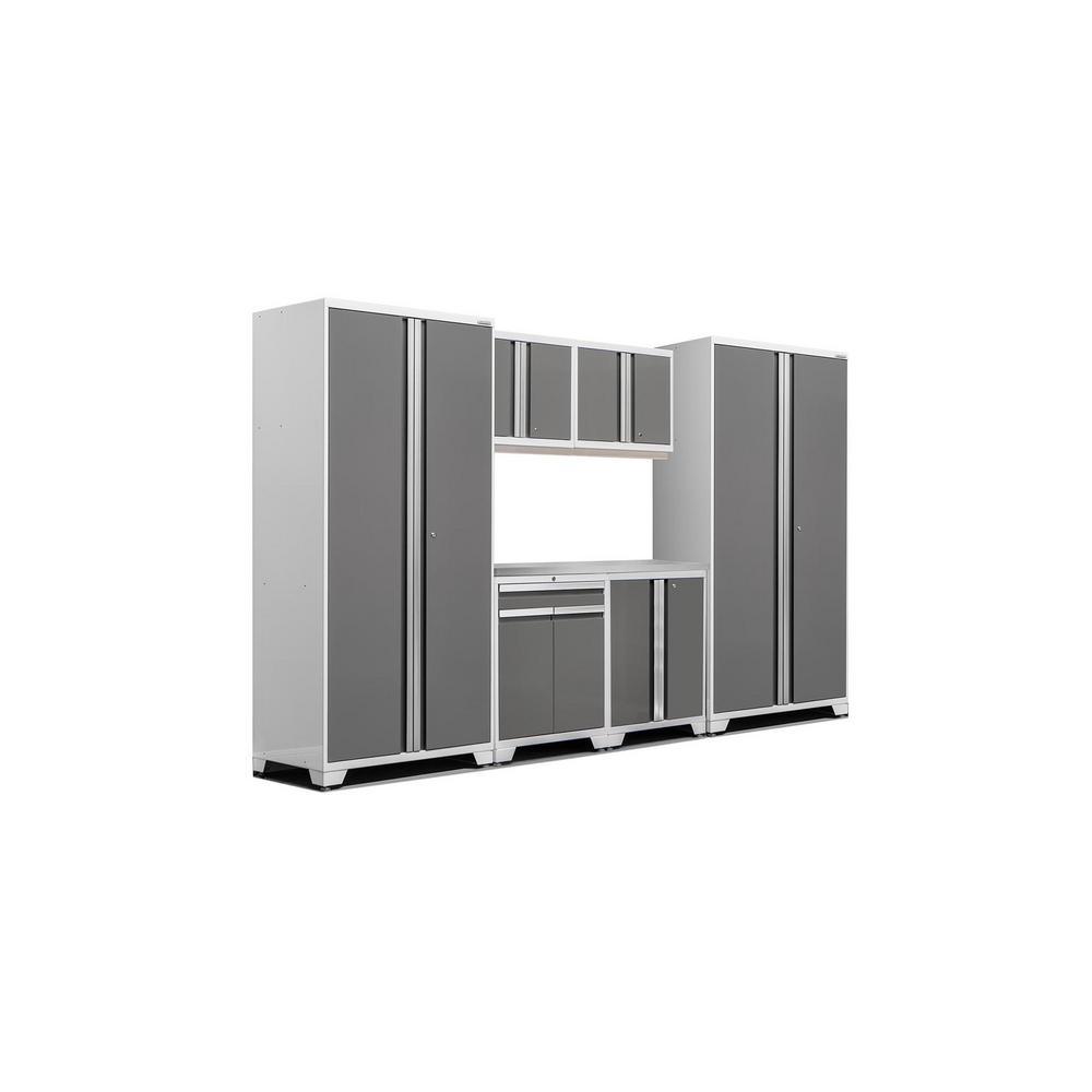 Pro 3.0 83.25 in. H x 128 in. W x 24 in. D 18-Gauge Steel Stainless Steel Worktop Cabinet Set in Platinum (7-Piece)