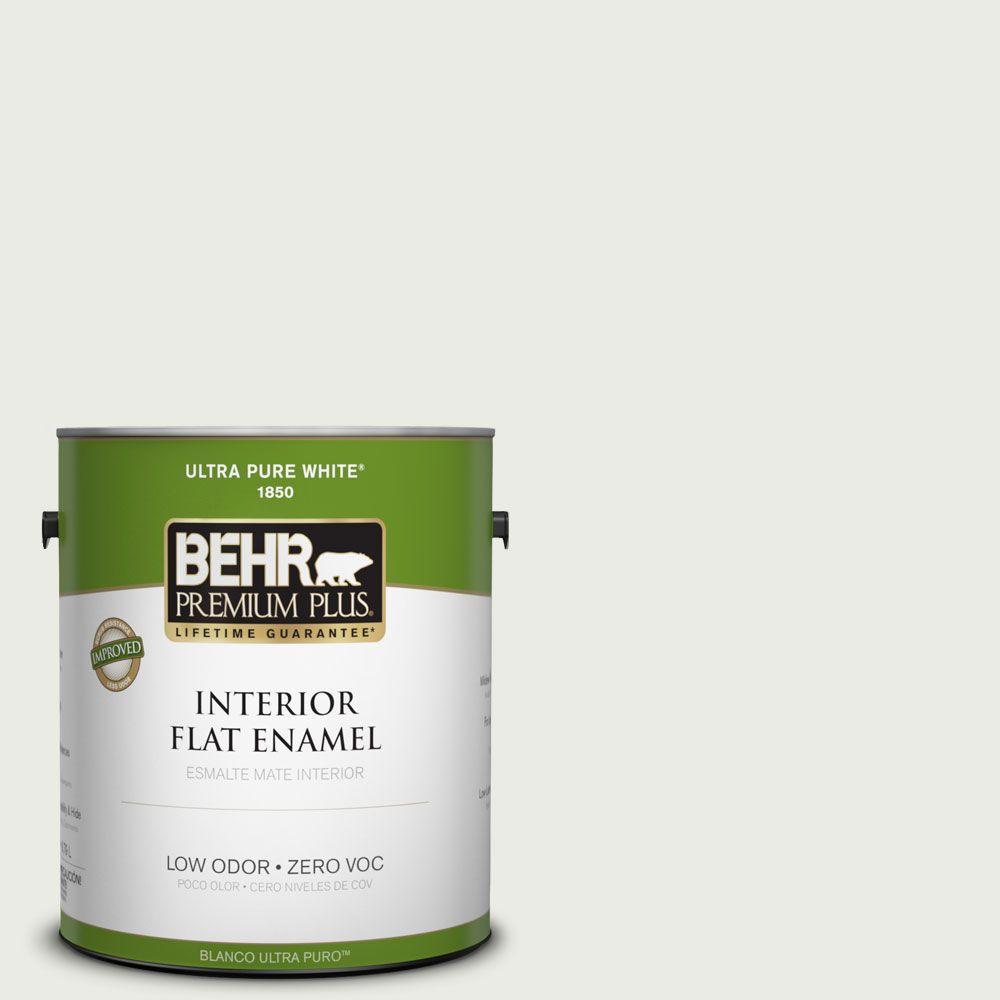 BEHR Premium Plus 1-gal. #430E-1 Winter Glaze Zero VOC Flat Enamel Interior Paint-DISCONTINUED