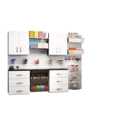 Modular Wall Mounted Craft Storage Set with Accessories in White (5-Piece)
