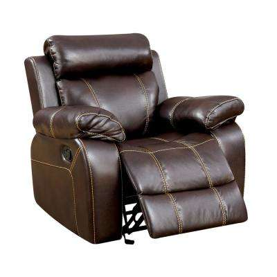 Zaragoza Brown Breathable Leatherette Recliner Chair