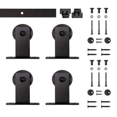 4 ft.  Black Top Mount Rolling Double Furniture Door Kit with Rail