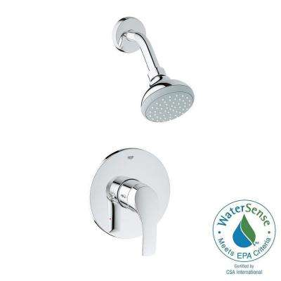 Eurosmart New Single Handle Pressure Balance Shower Faucet Trim Kit in StarLight Chrome (Valve Sold Separately)