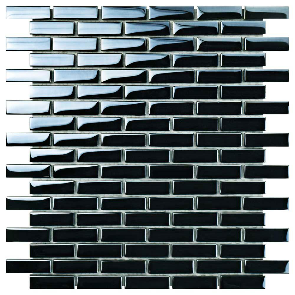 Merola Tile Claude Subway Mirror 11-3/4 in. x 11-3/4 in. x 6 mm Glass Mosaic Tile