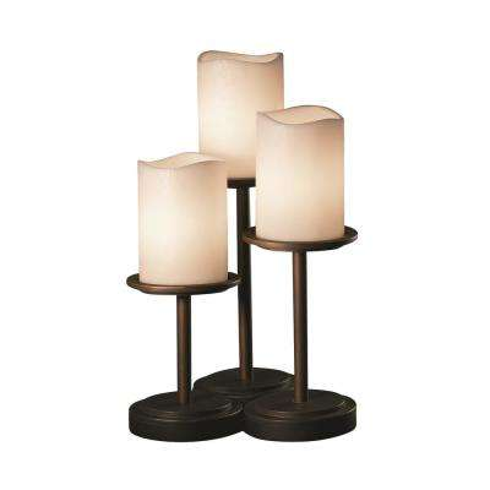CandleAria Dakota 3-Light 16 in. Dark Bronze Table Lamp with Cream Shade