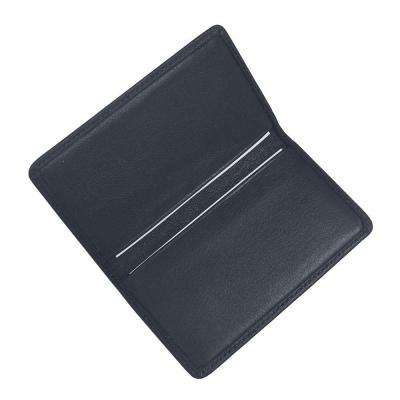 Blue Business Card Case in Genuine Leather