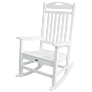 Trex Outdoor Furniture Yacht Club Classic White Patio Rocker TXR100CW   The  Home Depot