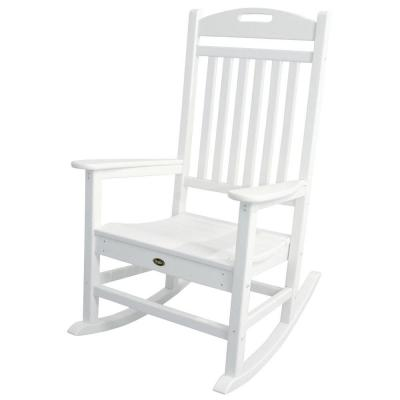 Yacht Club Classic White Plastic Outdoor Patio Rocker