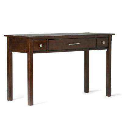 Lincoln Solid Wood Contemporary 47 inch Wide Writing Office Desk in Dark Tobacco Brown