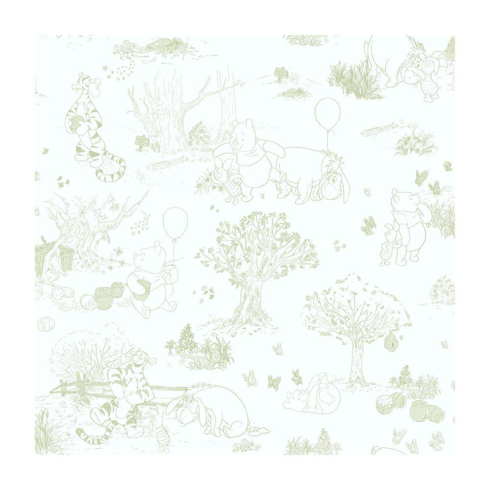York Wallcoverings Pooh & Friends Toile Wallpaper