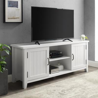 """58"""" Grooved Door TV Console - Solid White"""