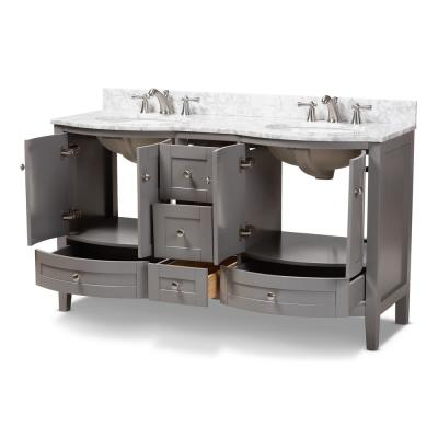 Nicole 60 in. W x 34.7 in. H Bath Vanity in Gray with Vanity Top in White with High Gloss White Basin