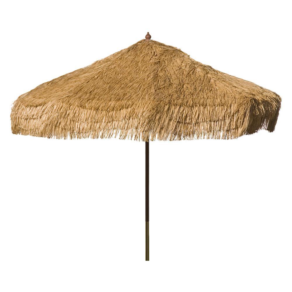 Palapa 9 ft. Wood Drape Patio Umbrella in Whiskey Brown