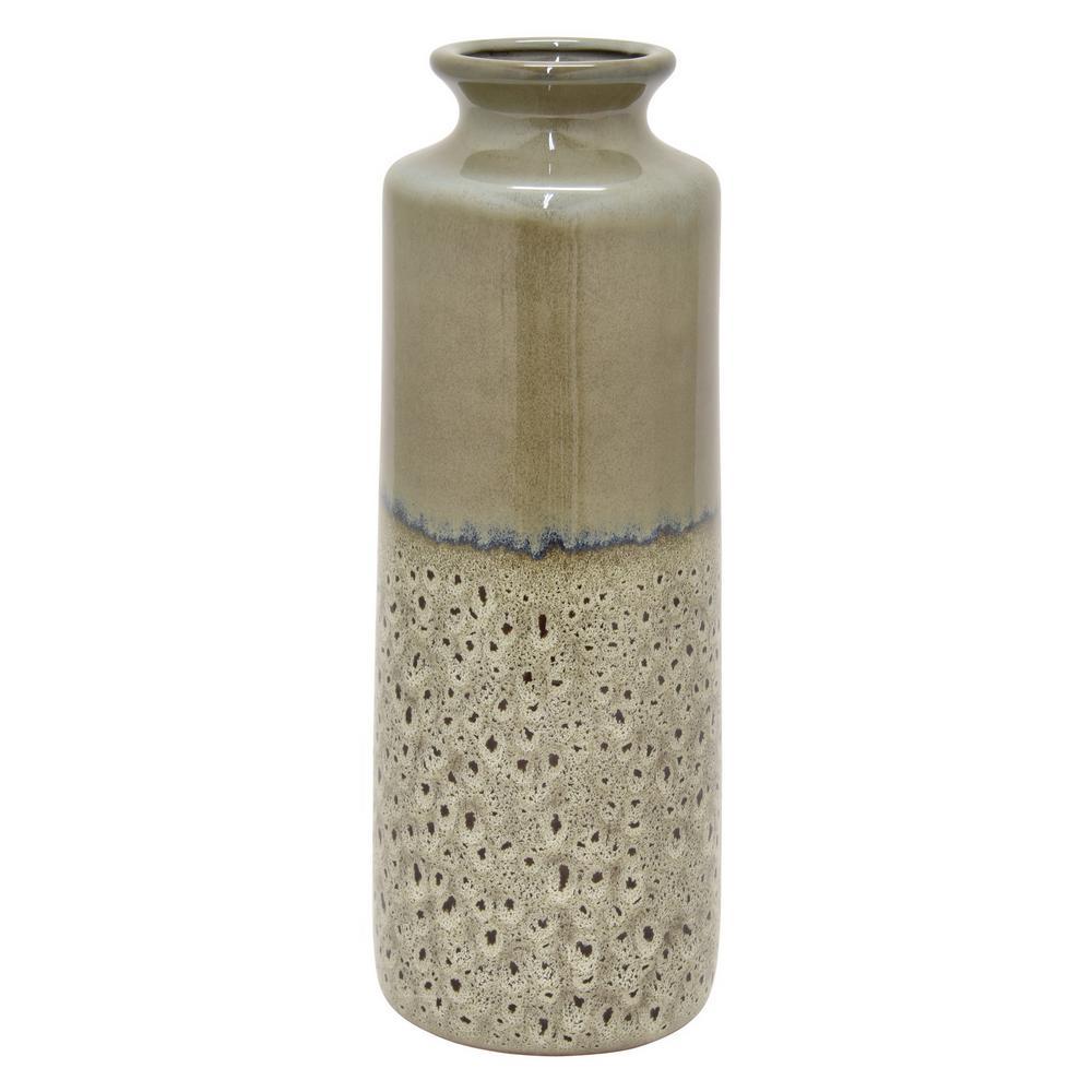 16 in. Gray Ceramic Vase