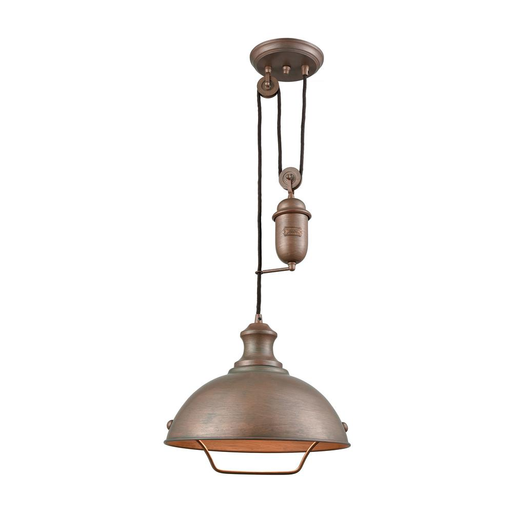 An Lighting Farmhouse 1 Light Tarnished Br Pulldown Pendant