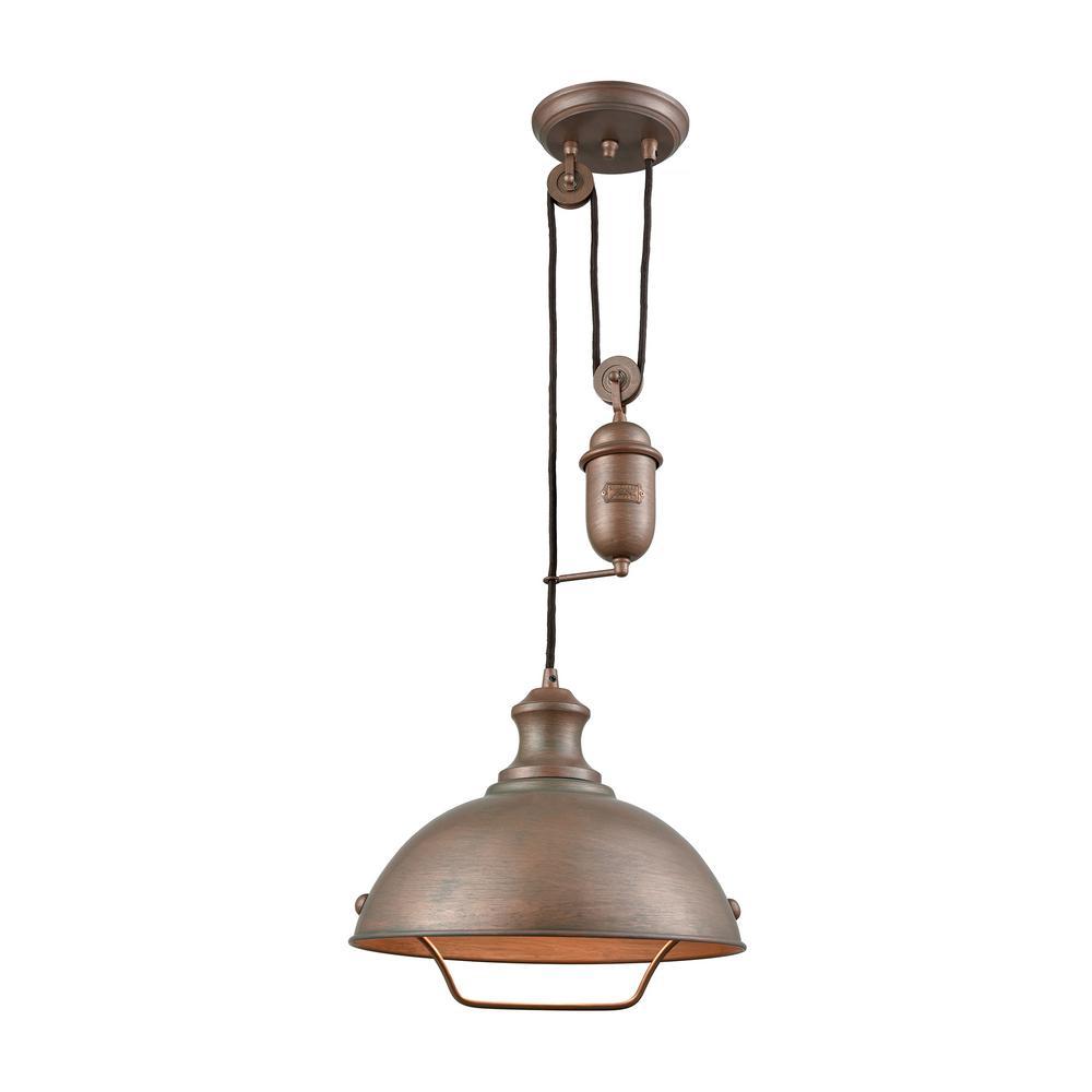 Titan Lighting Farmhouse 1 Light Tarnished Brass Pulldown Pendant Tn