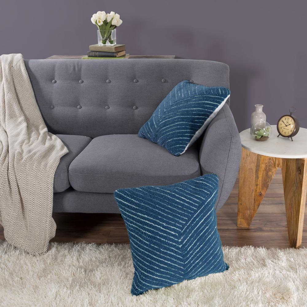 Modern Diagonal Stripe Navy Decorative Pillow