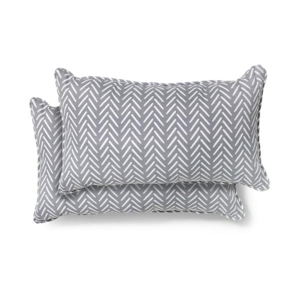 20 in. x 12 in. Afton Stone Outdoor Lumbar Pillow (2 Pack)