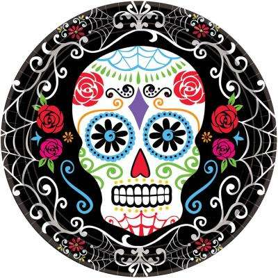 10.5 in. x 10.5 in. Day of the Dead Round Paper Plates (18-Count, 3-Pack)