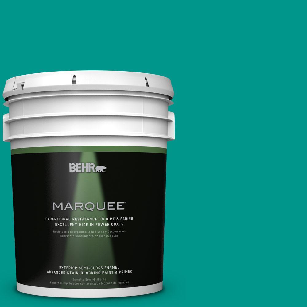 BEHR MARQUEE 5-gal. #S-G-490 Intense Teal Semi-Gloss Enamel Exterior Paint