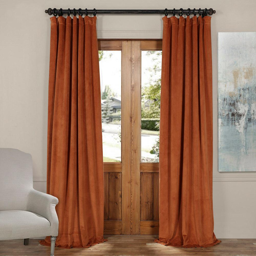 Exclusive Fabrics Furnishings Blackout Signature Rusty Gate Orange Blackout Velvet Curtain