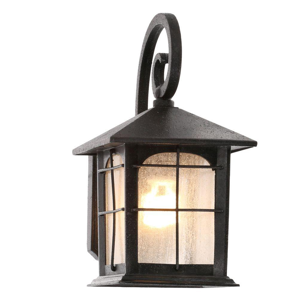 Wall Mount Outdoor Lighting Outdoor wall mounted lighting outdoor lighting the home depot brimfield 1 light aged iron outdoor wall lantern workwithnaturefo