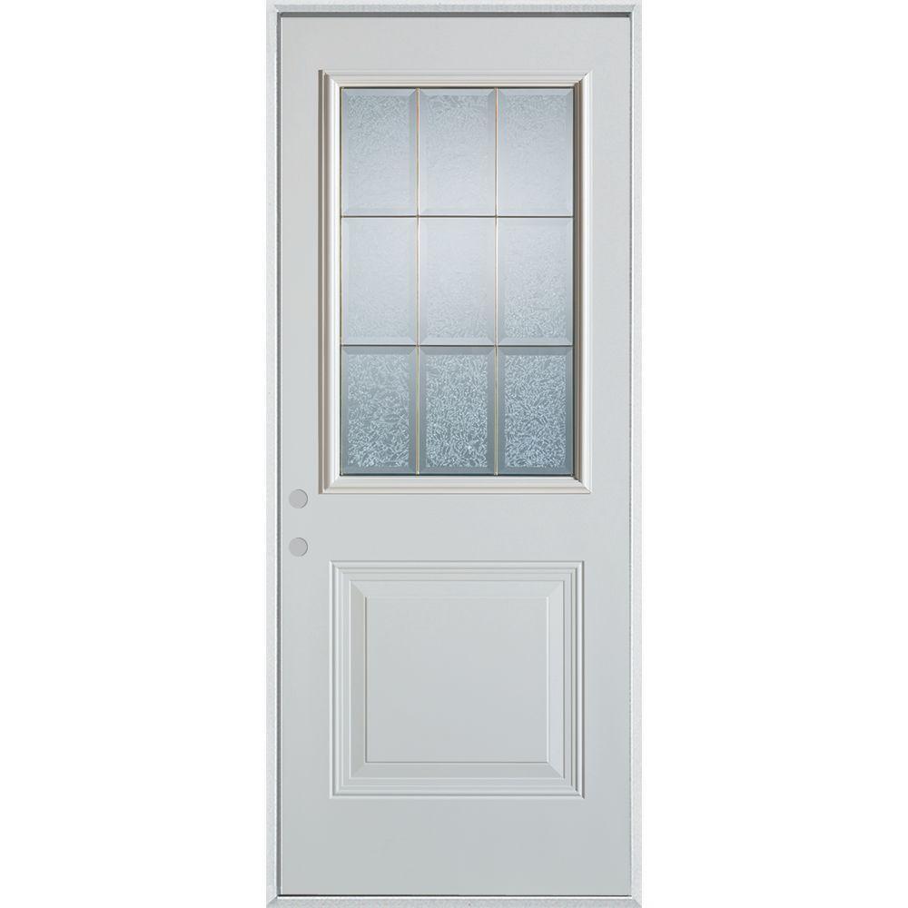 Stanley Doors 36 In X 80 In Geometric Glue Chip And Zinc 12 Lite 1 Panel Painted Right Hand Inswing Steel Prehung Front Door