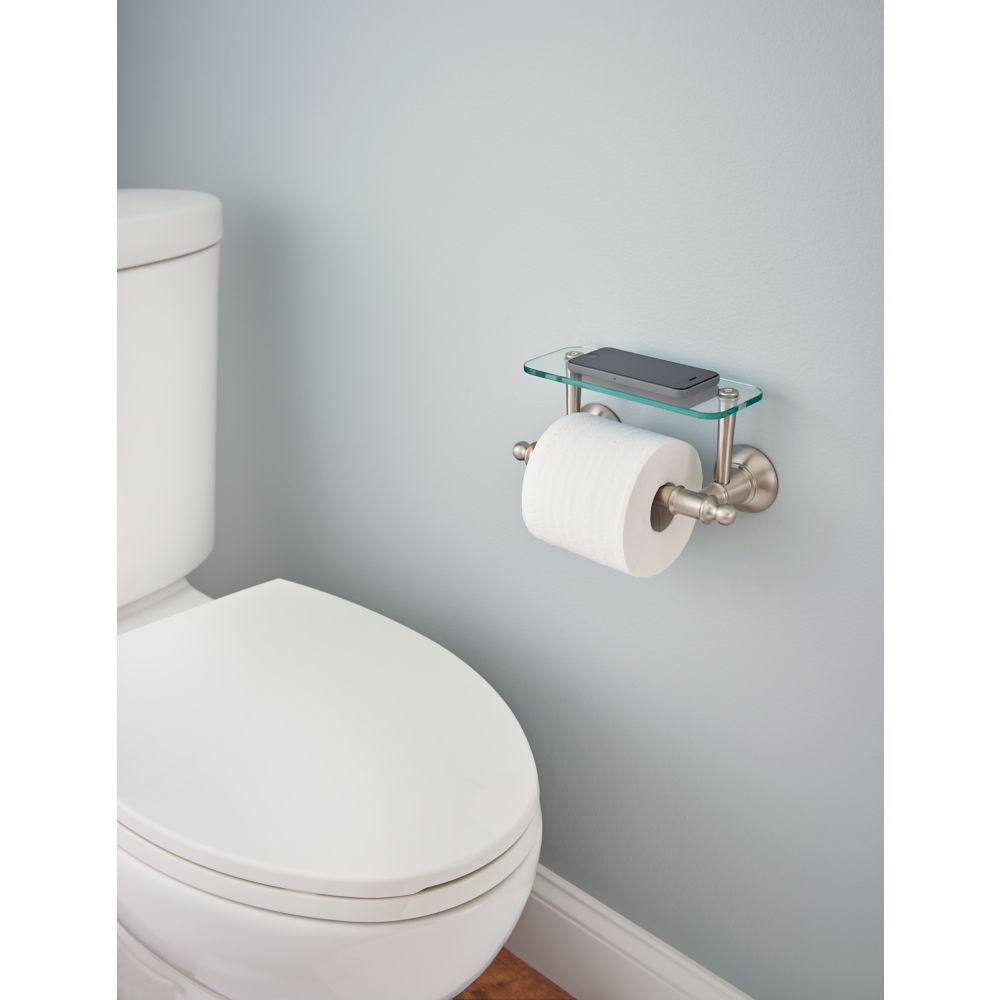 Toilet Paper Holder With Gl Shelf