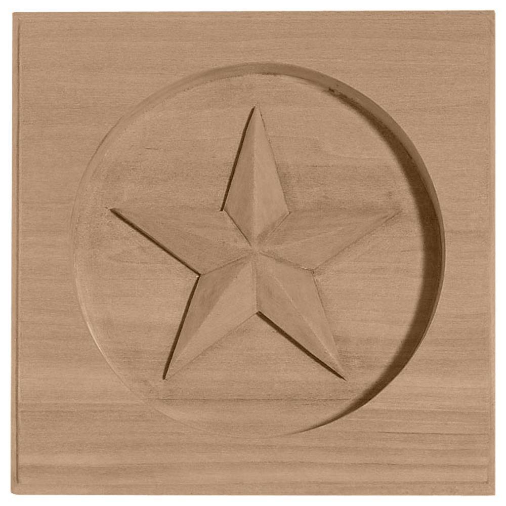 Ekena Millwork 7 in. x 1 in. x 7 in. Unfinished Wood Alder Austin Star Rosette