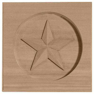 7 in. x 1 in. x 7 in. Unfinished Wood Cherry Austin Star Rosette