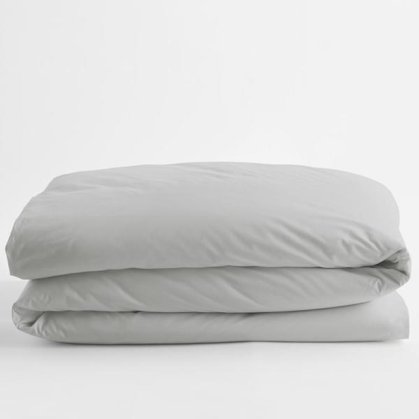Organic Pearl Gray Solid Twin Cotton Percale Duvet Cover