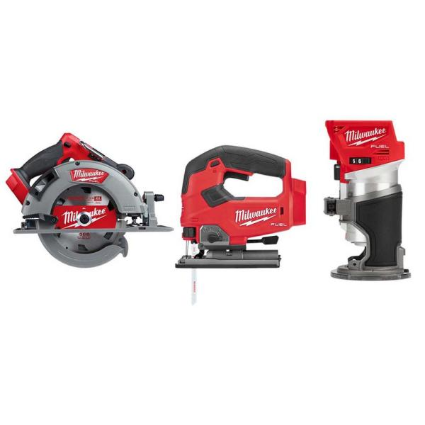M18 FUEL 18-Volt Lithium-Ion Brushless 7-1/4 in. Cordless Circular Saw/Jigsaw/Compact Router Combo Kit (3-Tool)