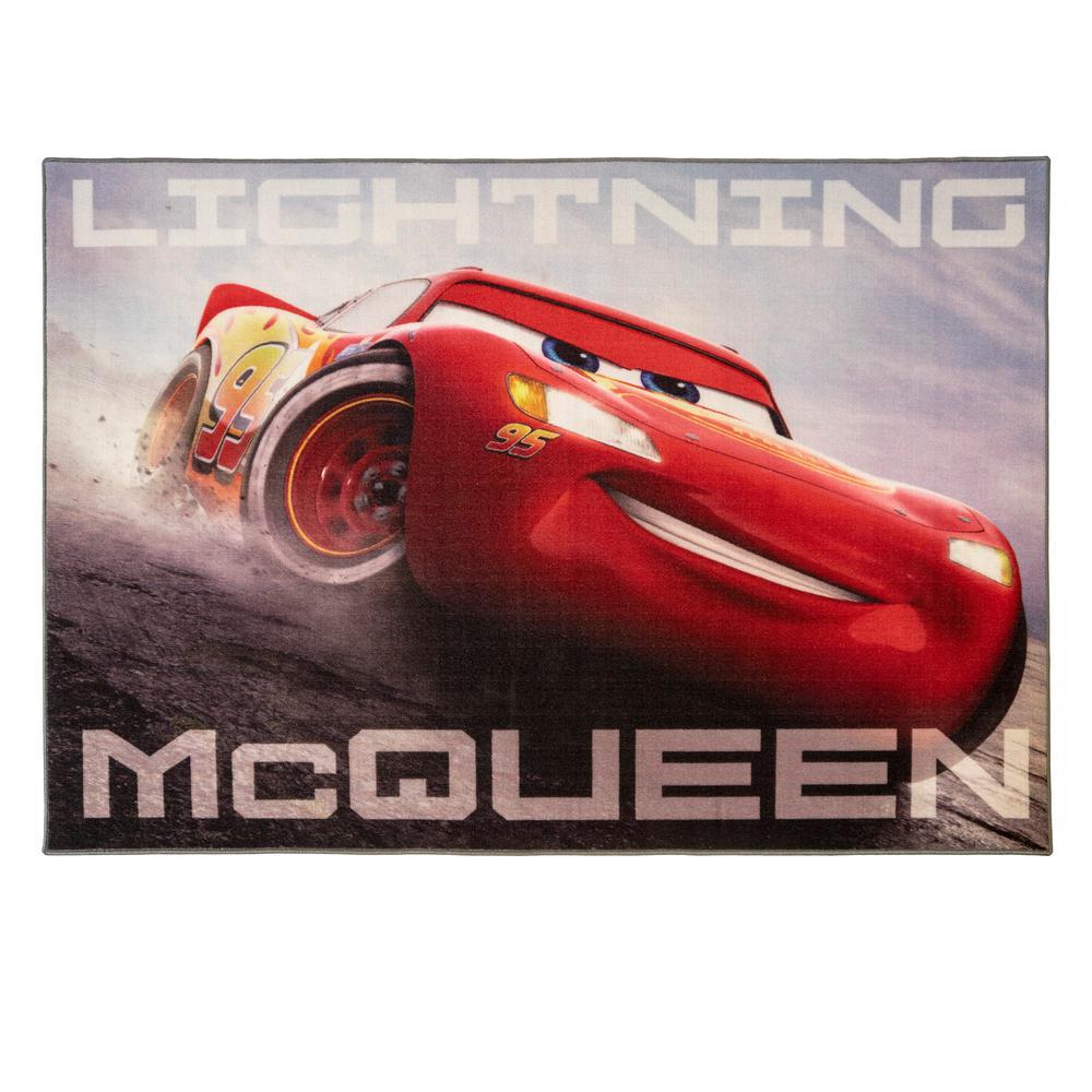 Lightning McQueen Multi-Colored 5 ft. x 7 ft. Indoor Juvenile Area Rug