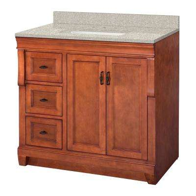 Naples 37 in. W x 22 in. D Vanity in Warm Cinnamon with Engineered Marble Vanity Top in Sedona with White Sink