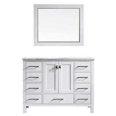 Gela 48 in. W x 22 in. D x 35 in. H Vanity In White with Marble Vanity Top in White with White Basin and Mirror