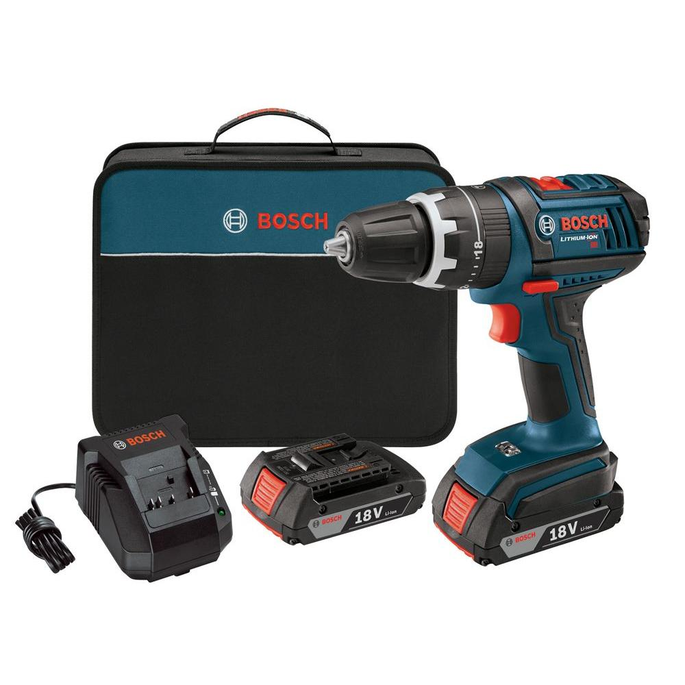Bosch Factory Reconditioned Lithium-Ion Cordless 1/2 in. Compact Tough Hammer Drill/Driver Kit