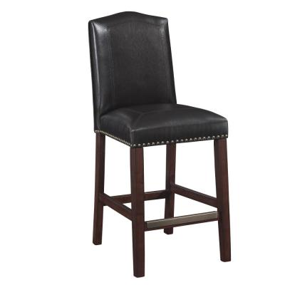 Carteret 24 in. Brown Leather Counter Stool