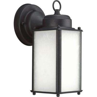 Roman Coach Collection 1-Light 10 in. Outdoor Black Wall Lantern Sconce