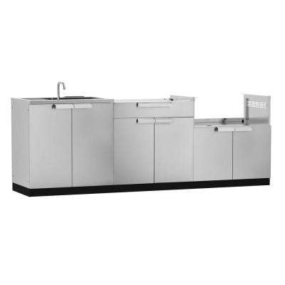 Stainless Steel Classic 3-Piece 97x36x24 in. Outdoor Kitchen Cabinet Set without Counter Tops