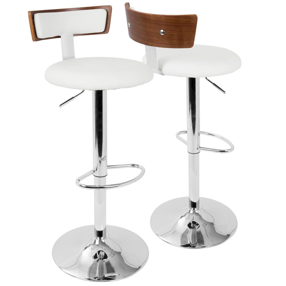 Lumisource Weller Walnut And White Adjustable Barstool Bs
