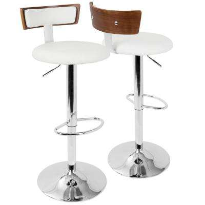 Weller Walnut and White Adjustable Barstool