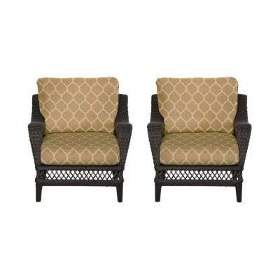 Woodbury Dark Brown Wicker Outdoor Patio Lounge Chair with CushionGuard Toffee Trellis Tan Cushions (2-Pack)