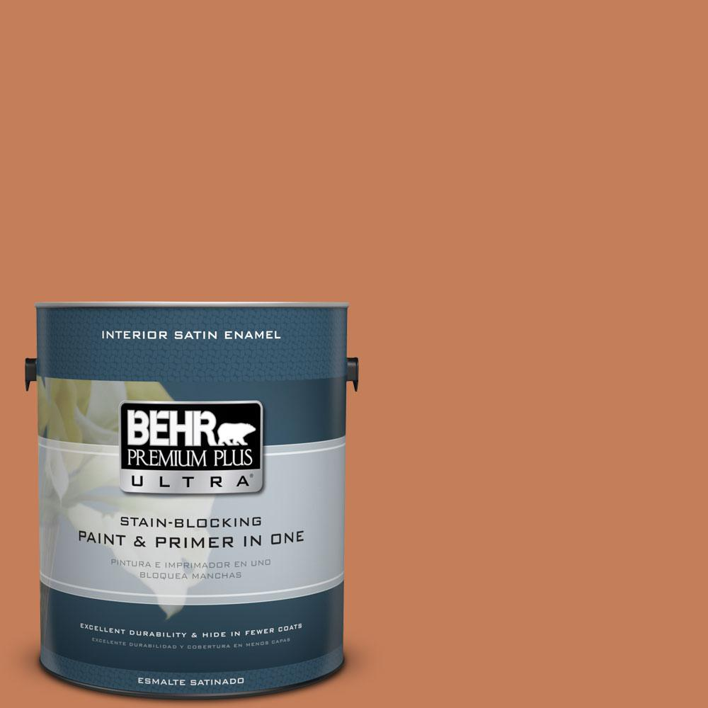 BEHR Premium Plus Ultra 1-gal. #M210-6 Orange Liqueur Satin Enamel Interior Paint