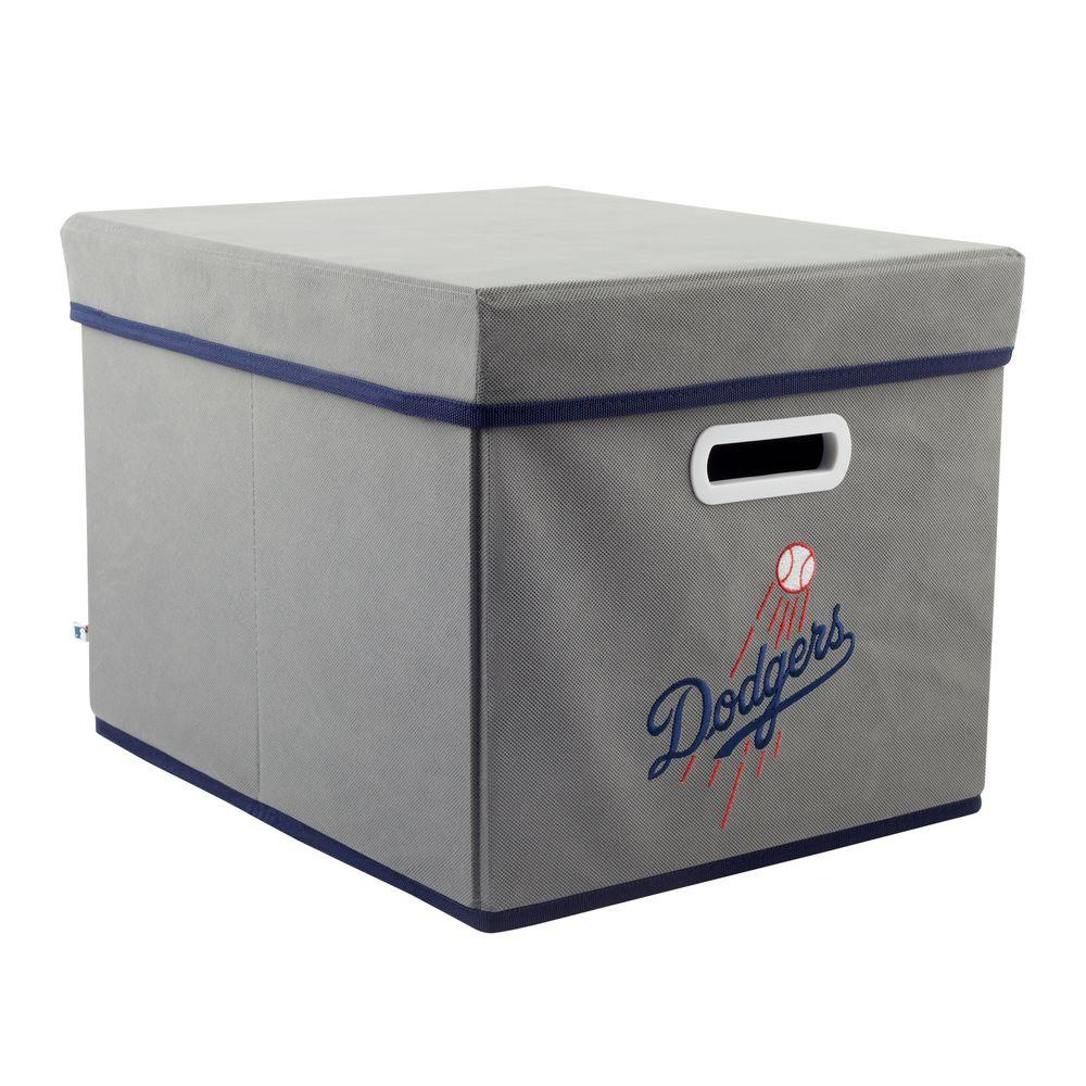 MyOwnersBox MLB STACKITS Los Angeles Dodgers 12 in. x 10 in. x 15 in. Stackable Grey Fabric Storage Cube