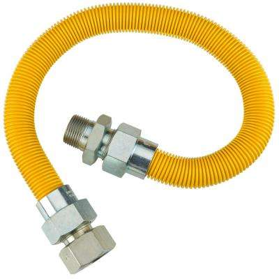 1/2 in. OD (3/8 in. ID) Flare x 1/2 in. MIP x 1/2 in. FIP x 24 in. Polymer Coated Gas Connector in Yellow