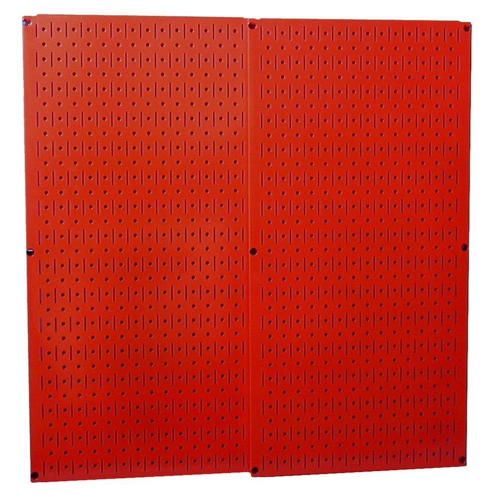 Wall Control 32 in. x 32 in. Overall Size Red Metal Pegboard Pack with Two 32 in. x 16 in. Pegboards