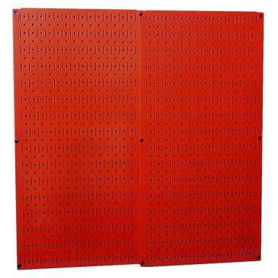 32 in. x 32 in. Overall Size Red Metal Pegboard Pack with Two 32 in. x 16 in. Pegboards