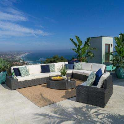 9-Piece Wicker Patio Sectional Seating Set with White Cushions